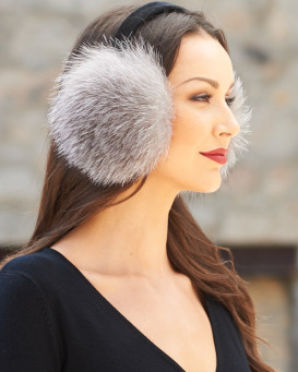 Fox Fur Earmuffs with Velvet band in Silver Indigo