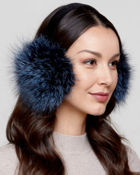 Fox Fur Earmuffs with Velvet Band in Denim