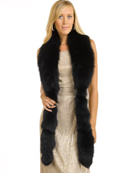 Cecilia Black Fox Fur Fling with Tails