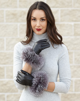 Silver Indigo Fox Fur Trim Wool Lined Leather Gloves