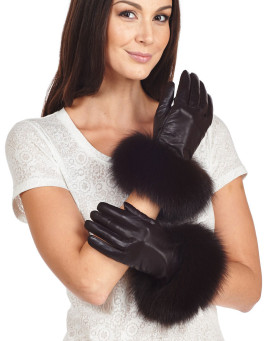 Fox Fur Trim Wool Lined Leather Gloves in Brown