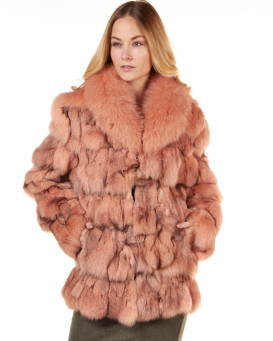 Fox fur Jacket with Large Collar in Salmon color