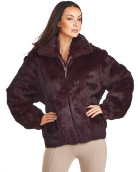 Frances Burgundy Rabbit Fur Bomber Jacket with Hood