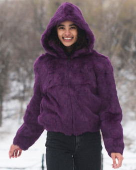 Frances Purple Rabbit Fur Bomber Jacket with Hood