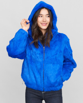 Frances Royal Blue Rabbit Fur Bomber Jacket with Hood