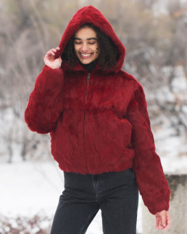 Frances Scarlet Rabbit Fur Bomber Jacket with Hood
