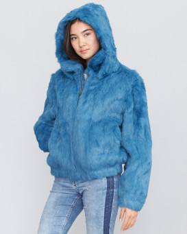 Frances Sky Blue Rabbit Fur Bomber Jacket with Hood