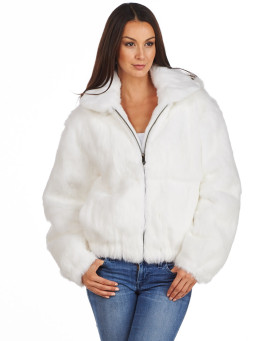 Frances White Rabbit Fur Bomber Jacket with Hood