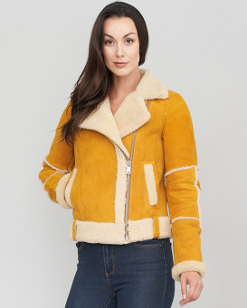 Frankie Yellow Shearling Sheepskin Moto Jacket