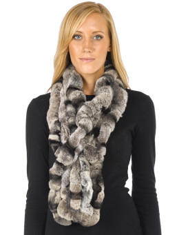 The Lucie Rex Rabbit Fur Scarf in Grey Frost