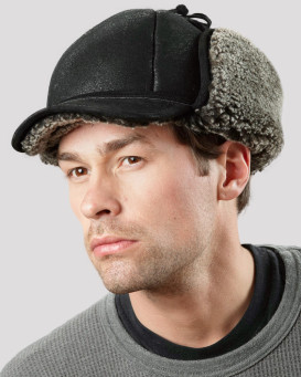 Frosted Black Shearling Sheepskin Fudd Hunting Hat for Men
