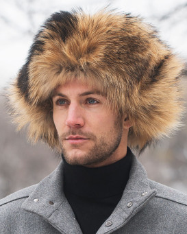 Full Fur Finn Raccoon Russian Hat for Men