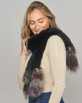 Party Knit Rex Rabbit Scarf in Black with Multi-color Finn Raccoon Fur Ends