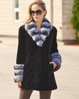 Genevieve Black Sheared Mink with Chinchilla Trim