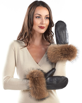 Vermont Leather Mittens with Wide Finn Raccoon Cuffs