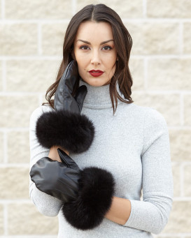Vermont Leather Mittens with Wide Black Fox Fur Cuffs