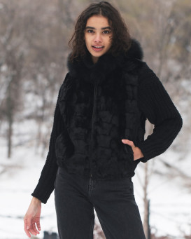 Georgia Patchwork Black Mink Vest with Fox Fur Trim