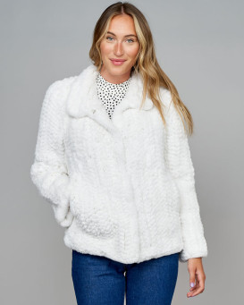 Giovanna Knit Rex Rabbit Fur Jacket in White