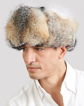 Gray Fox Fur Trapper Hat for Men