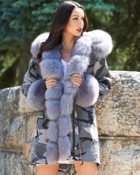 Grey Camo Military Parka Coat with Premium Charcoal Fox Fur Trim