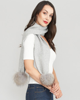 Kayla Grey Knit Scarf with Finn Raccoon Pom Poms
