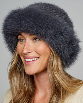 Hampton Fox Fur Bowler Hat with Knit Mink Top in Charcoal