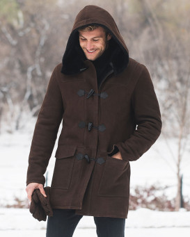 Harold Shearling Sheepskin Hooded Coat for Men
