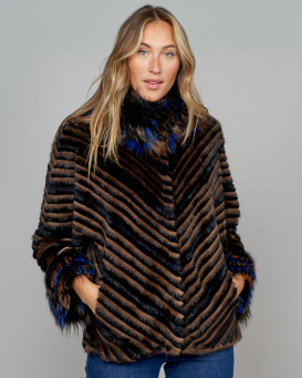 Heiress Tricolor Layered Fox, Mink, and Rex Rabbit Fur Coat