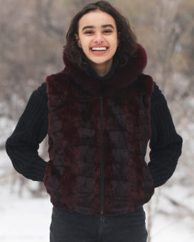 Georgia Burgundy Mink Vest with Fox Fur Trimmed hood