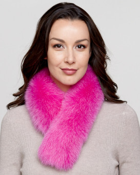 Hot Pink Fox Fur Collar