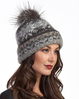 Icelandic Knit Wool Double Cuff Beanie Hat with Silver Fox Pom P
