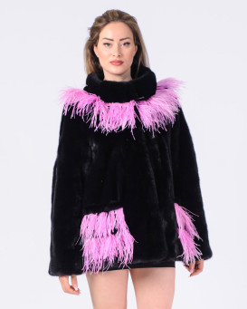 Ina Black NAFA Mink Fur Jacket with Pink Feather Trim