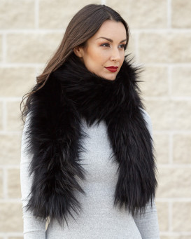 Indra Black Knit Fox Fur Scarf