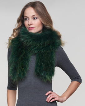 Indra Emerald Knit Finn Raccoon Fur Scarf
