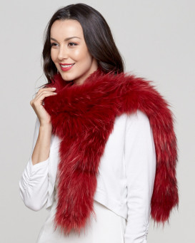 Indra Scarlet Knit Fox Fur Scarf