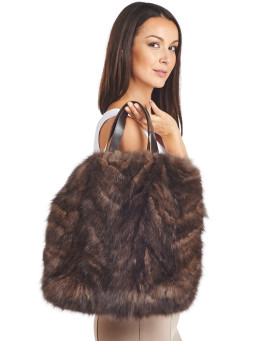 Inez Sable Fur Tote Bag with Leather Handles
