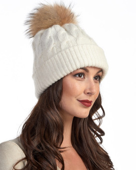 Icelandic Chunky Knit Wool Beanie Hat with Finn Raccoon Pom Pom