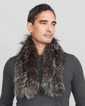 Brad Knit Fox Fur Pull Through Scarf in Silver Indigo