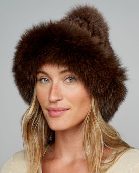 Blaire Mink Hat With Fox Fur Trim & Pom Pom in Brown