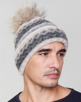 Jax Wool Beanie Hat with Coyote Fur for Men