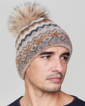 Jax Wool Beanie Hat with Finn Raccoon for Men