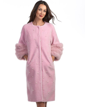 Jayleen Pink Shearling Sheepskin Coat with Pearls and Fox Trim