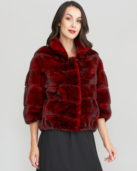 Joelle 3/4 Sleeve Long Hair Mink Fur Jacket in Scarlet