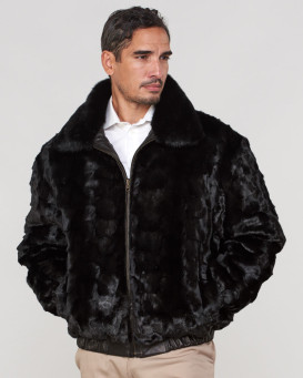 Joey Mink Fur Men's Bomber Jacket Reversible to Leather in Black
