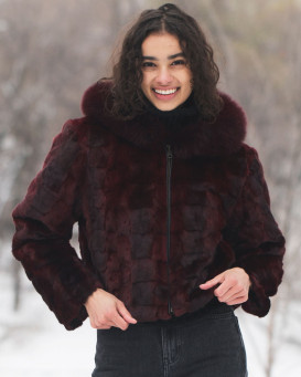 Johanna Burgundy Patched Mink Fur Jacket with Fox Fur Trimmed Hood
