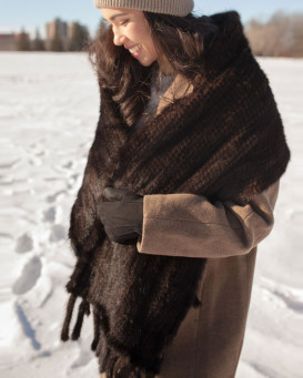 Juliette Mahogany Knit Mink Fur Scarf with Tassels