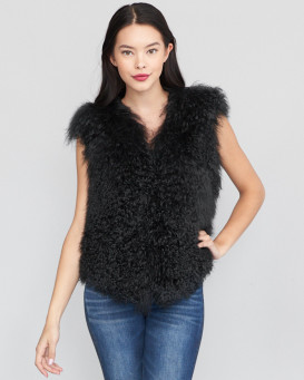 June Mongolian Lamb Fur Vest in Black