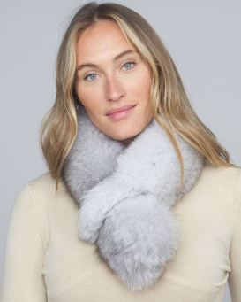 Karisse Blue Fox Fur Pull Through Scarf
