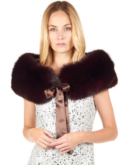 Karlie Burgundy Fox Fur Collar with Ties