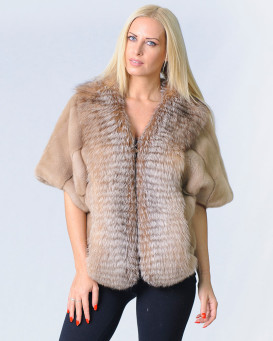 Kaydence Mink Fur Stole with Crystal Fox Fur Trim
